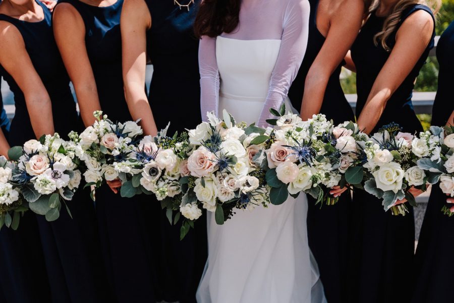 Navy Cream Bridesmaids Bouquets